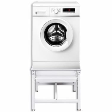 Washing Machine Pedestal With Pull Out Shelf White Plank Wasmachines Wit