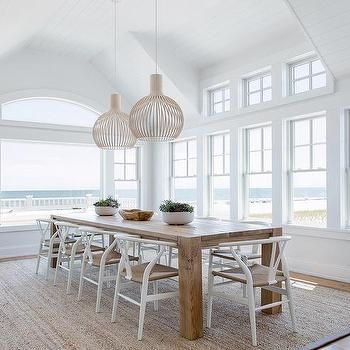 Round Reclaimed Wood Dining Table With French X Back Dining Chairs And White Slipper Chairs Cottage Dining Beach House Dining Room Home Dining Room Design