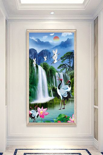 Chinese Style Aesthetic Beautiful Landscape Painting Xianhe Porch Decorative Painting Beautiful Landscape Paintings Landscape Paintings Decorative Painting