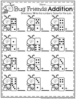 Addition Worksheets Planning Playtime Kindergarten Math