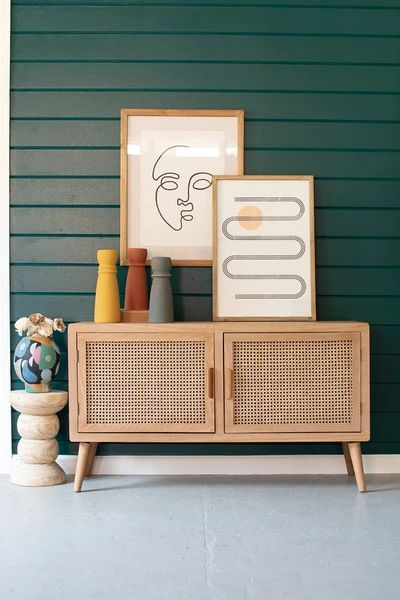 Wood TV Cabinet With Woven Cane Doors Product Description Product Dimensions : L x W x H Material: Wood SKU: Brand: Kalalou Rattan, Cane Furniture, Furniture Design, Modern Wood Furniture, Western Furniture, Diy Home Decor, Room Decor, Media Cabinet, Tv Cabinet Design