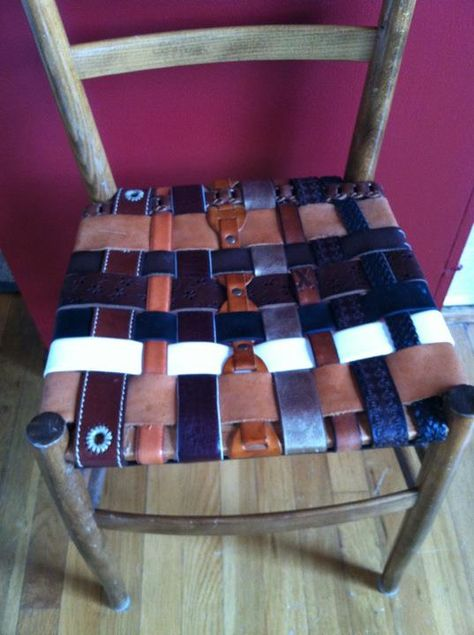 Another great reuse idea from our neighbor Barbara B. She used old belts to replace the seat in an old wicker chair...awesome !