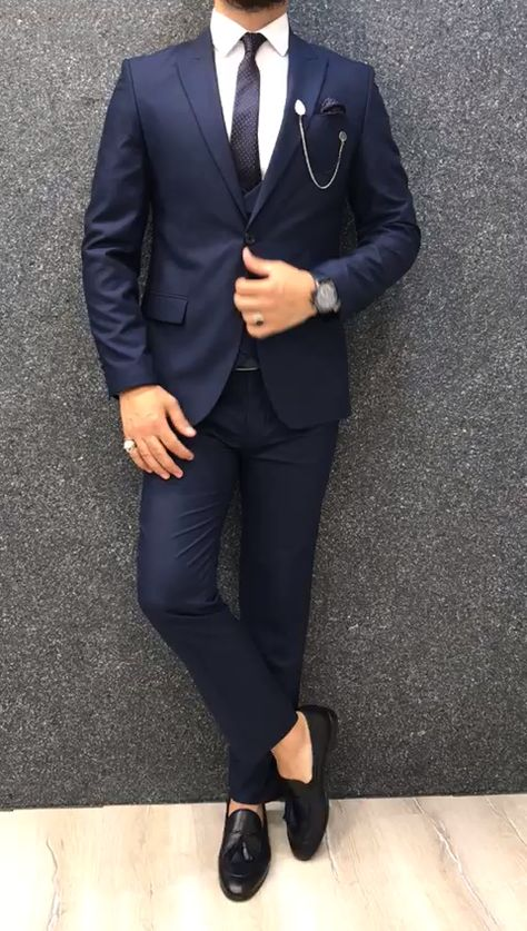 Calvin Slim Fit Wool Suit - Navy Blue
