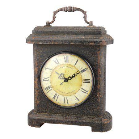 Home Tabletop Clocks Wood Metal Clock