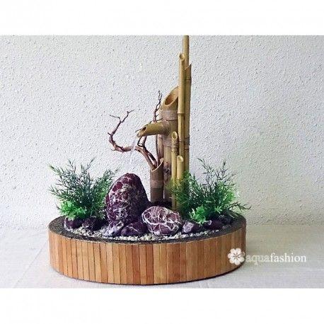 Dekorative Tischbrunnen aus mit Natursteinen und natürliche Bambus