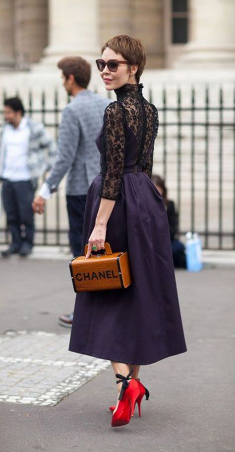 Proenza Schouler dress and Les Petits Joueurs bags 2015 This look reminds me of my grandmother.