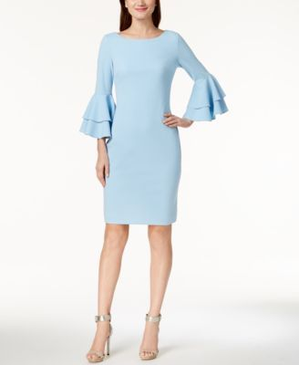 Calvin Klein Tiered Bell Sleeve Sheath Dress Macys Com Sheath Dress Outfit Women Dresses Classy Flare Sleeve Dress