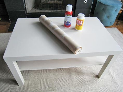 wallpapered ikea lack table.
