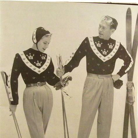 Vintage 1950s Ski Sweater Patterns Bear by RebeccasVintageSalon, $8.00