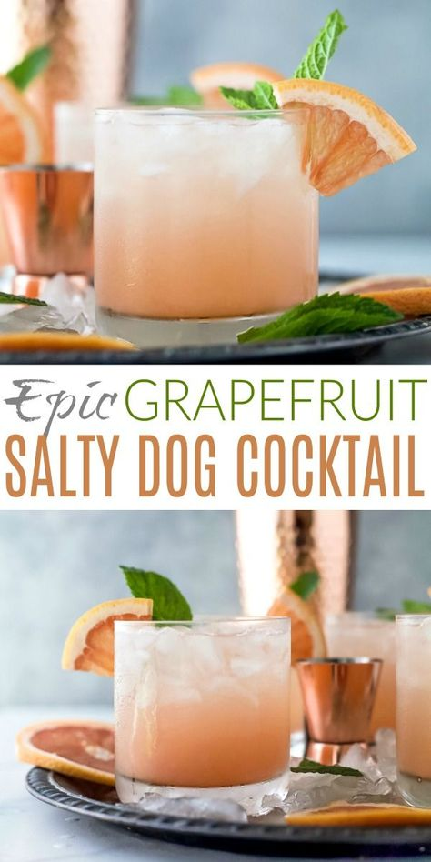An Epic Grapefruit Salty Dog Cocktail Recipe that'll be the envy of summer! This refreshing salty dog is a mix of fresh grapefruit juice, vodka, sparkling water with a hint of lime. A summer drink that is light, easy and down right tasty! Refreshing Cocktails, Easy Cocktails, Summer Drinks, Cocktail Drinks, Fun Drinks, Healthy Drinks, Beverages, Nutrition Drinks, Easy Vodka Drinks
