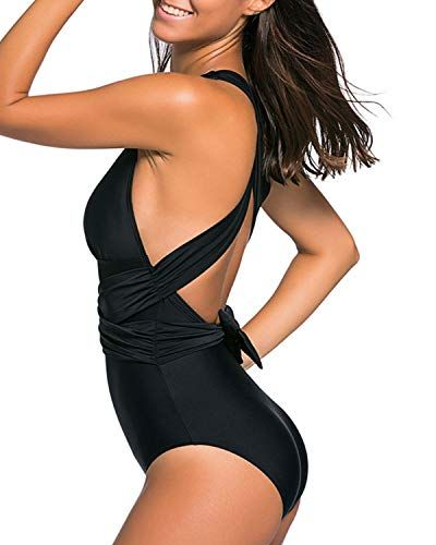 1210a7dd54 Holipick Women One Piece V-Neck Plunge Wrap Swimsuit Ruched Cross Backless  Bathing Suit