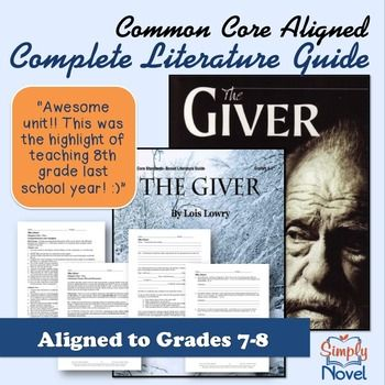 The Giver Literature Guide Common Core Standards Based Teaching Guide Teaching Guides Teaching The Giver