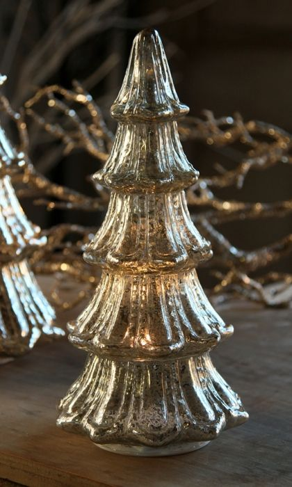 12 Inch Lighted Mercury Glass Christmas Tree From Raz Mercury Glass Christmas Tree Mercury Glass Christmas Glass Christmas Tree