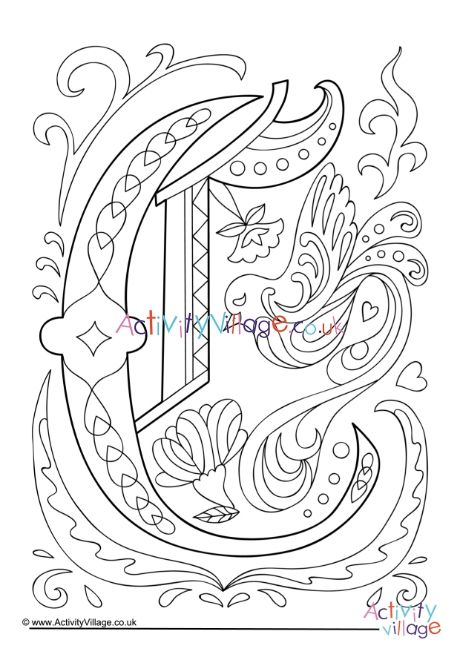 Illuminated Letter C Colouring Page Letter C Coloring Pages Coloring Pages Illuminated Letters