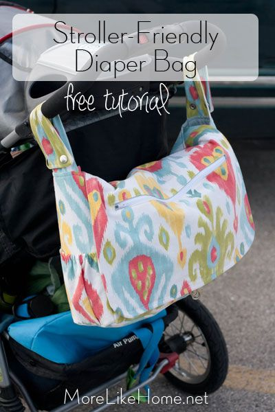 Free pattern and tutorial to make a stroller-friendly diaper bag! Converts from a messenger bag to a stroller bag with just a few snaps and has 12 pockets to keep you organized. {MoreLikeHome.net}