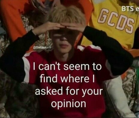 I Can T Seem To Find Where I Asked For Your Opinion Bts Memes
