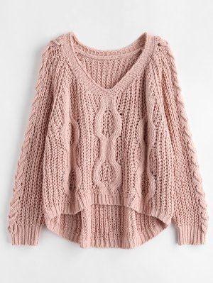 Lace up Openwork Oversized Sweater Pink Bubblegum