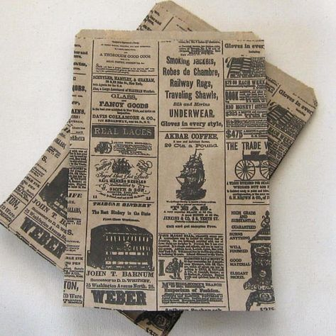 25 6x9 Newspaper print Paper Kraft Bags,Vintage style Newsprint Favor Craft Bags
