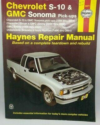 Advertisement Ebay Haynes Chevrolet S 10 Gmc Sonoma Pick Ups Blazer Jimmy Envoy Bravada Hombre Chevrolet S 10 Gmc Chevrolet
