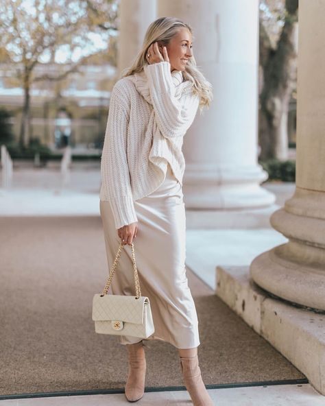 """Josie // Fashion Mumblr on Instagram: """"Silk & Soft Knits (and a new bag which I've just unboxed in my YouTube - pinch me! ) 💫 This is my current On-Repeat #ootd! //…"""""""