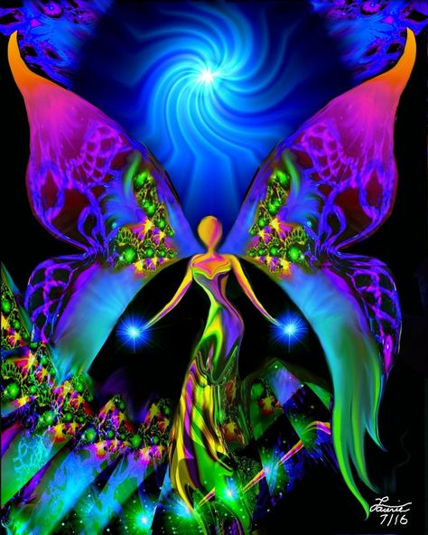 """""""Breaking Free"""" is a spiritual healing angel art print in my chakra inspired line of reiki infused wall decor. This reiki angel art print would be a beautiful addition to a meditation room, yoga studi"""