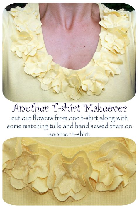 Another T-Shirt Makeover w/ Yellow Flowers   Free Tutorial