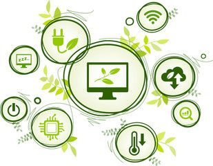 Green Computing Green It Connected Icon Concept Environmentally Sustainable Ict Recycling Cloud Computing Syst Green Computing Graphic Design Art Illustration