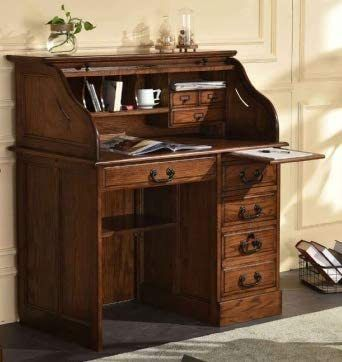 Solid Oak Wood Small Student Roll Top Desk Single Pedestal 42x24x45 Home Office Organizer In 2020 Roll Top Desk Home Office Organization Home Office Furniture