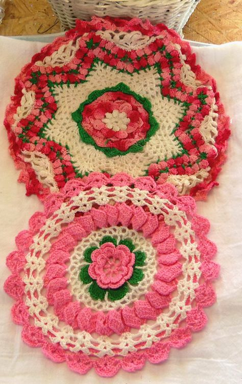 2 Vintage Doily Doilies Hand Crochet Rose Pink White