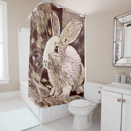 Animal Artstudio 819 Bunny Shower Curtain Zazzle Com Art