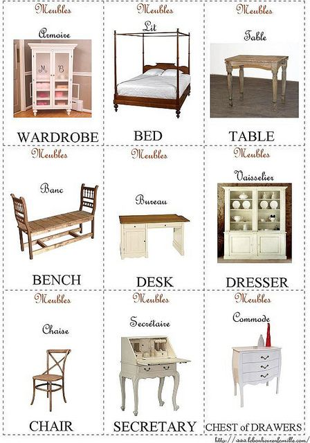 Cartes D Anglais Francais Meubles Wardrobe Bed Bed Table French Poems