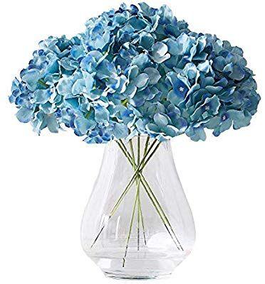 Kislohum Artificial Hydrangea Flowers Heads 10 Teal Hydrangea Silk Flowers Head For Wedding Artificial Hydrangea Flowers Artificial Hydrangeas Fake Hydrangeas