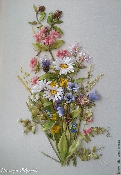 Field bouquet of Marjoleine Bastin ~ The paintings of this artist are light and delicate, like a child's dream .... ~ worked in ribbon embroidery by Kseniya Byelikh, Lutsk, Ukraine