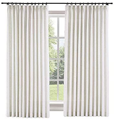 Amazon Com Twopages 72 W X 102 L Inch Pinch Pleat Darkening Drapes Faux Linen Curtains With Blacko In 2020 Sliding Door Curtains Pleated Curtains Pinch Pleat Curtains