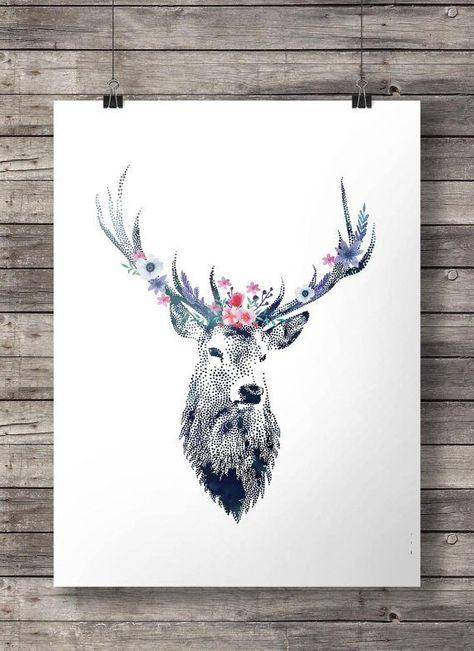 Watercolor deer flower garland, Printable art, peony rose, flower