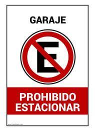 Cartel De Garaje Prohibido Estacionar Senalizacion