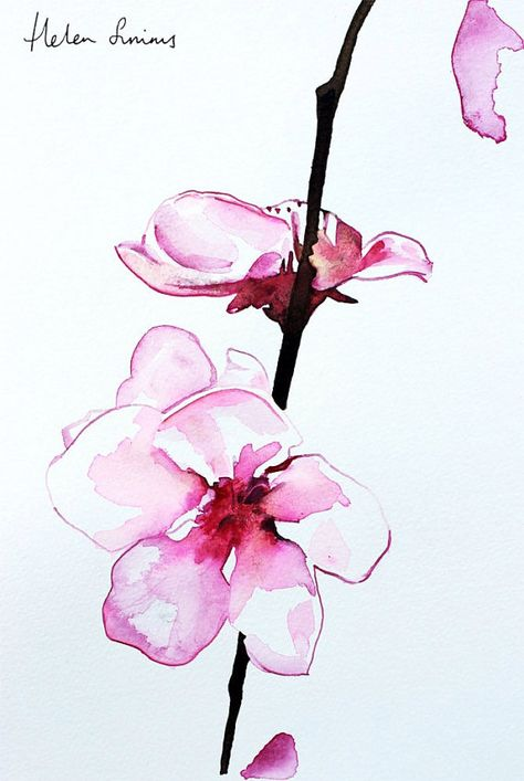 Peinture à l'aquarelle orchid Helen Simms, A4 imprimé de fleurs