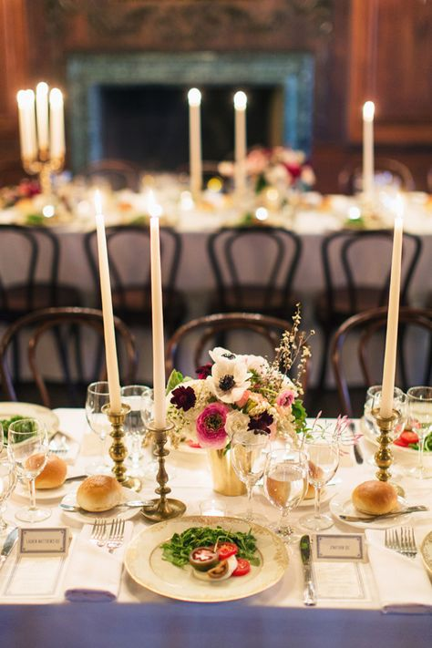 Candlelit dinner table arrangement // Lauren & Jon's wedding at Alder Manor in Yonkers, NY // Photo: Jonathan Young