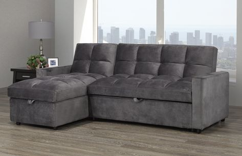 Jayden Lhf Rhf Configurable Sleeper Sectional W Storage Grey Velvet In 2020 Sleeper Sectional Pull Out Couch Sofa Set