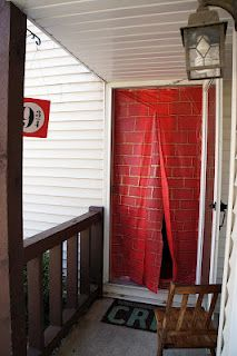 platform 9 3/4 entrance made with red plastic tablecloth and sharpies!