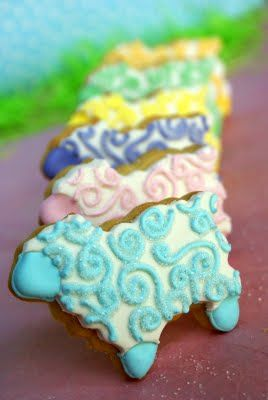 cute lamb cookies - easy if you have a sheep cookie cutter then just frost with white and ice with pastel colors.