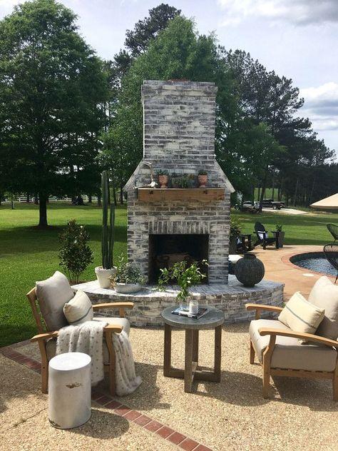 Whitewashed Outdoor Brick Fireplace Whitewashed Outdoor Brick