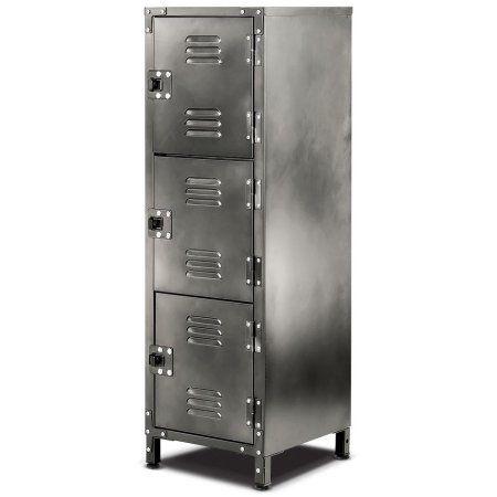 Allspace 3 Door Steel Locker With Vintage Finish 39 H X 13 3 4 D X 12 W 450112e Vintageindustrial Steel Locker Locker Storage Sports Bathroom