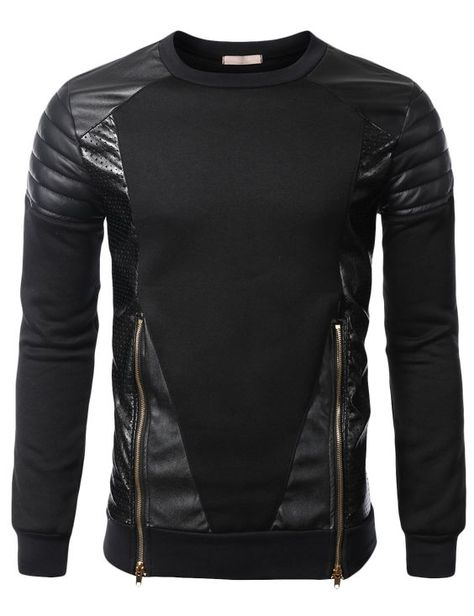 c8f9f4ce3 SMITHJAY Mens Hipster Hip-Hop Leather Padding Hoodie Sweatshirt BLACK  XLARGE   Work Clothes in 2019   Clothes, Fashion, Mens fashion:__cat__