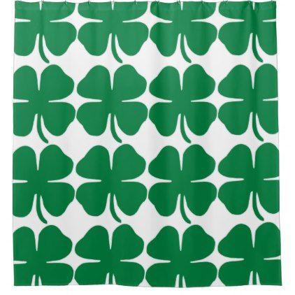 Clover Pattern Shower Curtain St Patricks Day Gifts Irish
