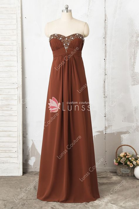 db4ada4f5758 Brown A-line Beaded Strapless Sweetheart Floor-length Chiffon Bridesmaid  Dress. More Details · Lunss Couture