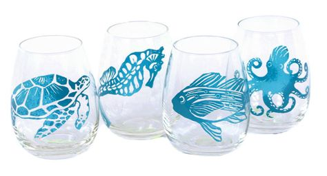 Set of 4 Sealife Shatterproof Stemless Wine Glasses   OceanStyles.com