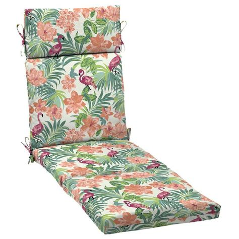 Arden Selections Cream Coral Patio Chaise Lounge Chair Cushion
