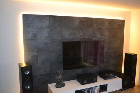 Idee TV-Wand aus Laminat Zukünftige Projekt Pinterest Wand - wohnzimmer tv wand