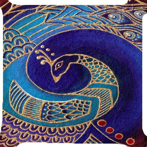 Peacock bird gold blue feather fan tail pillow cushion cover 2 side 18